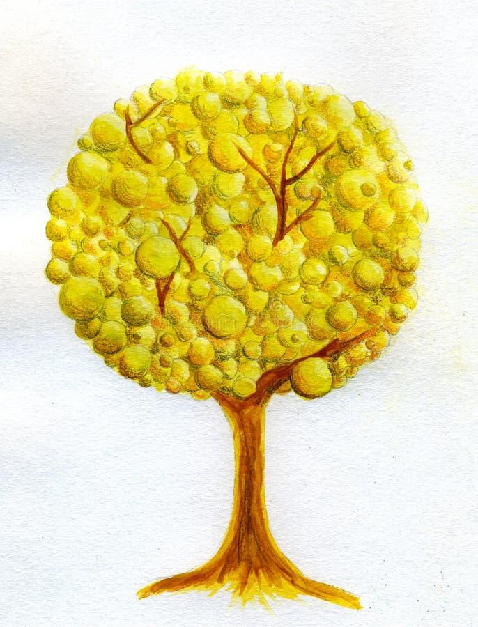 金黄结构树水彩 库存例证