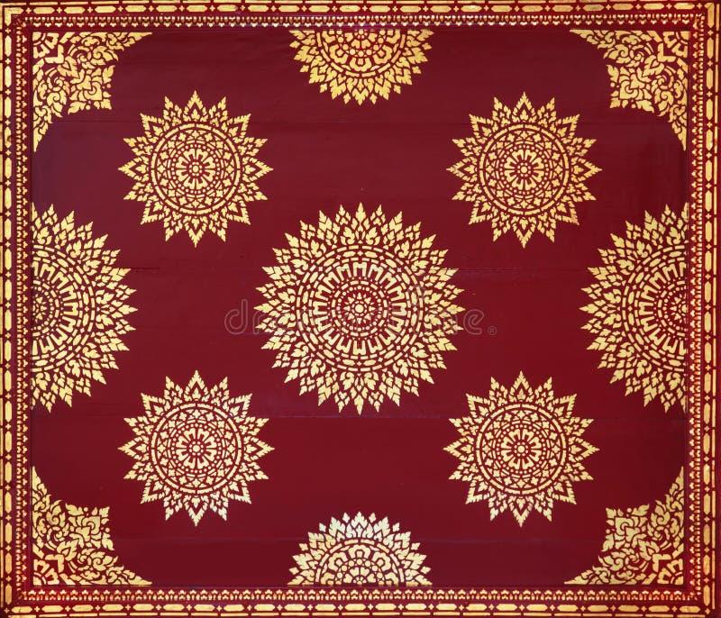 金黄绘画红色泰国墙纸 库存例证