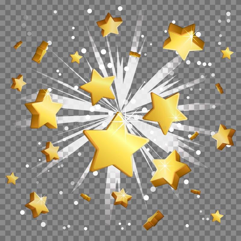 金黄美元的符号光束透镜火光爆炸 向量例证