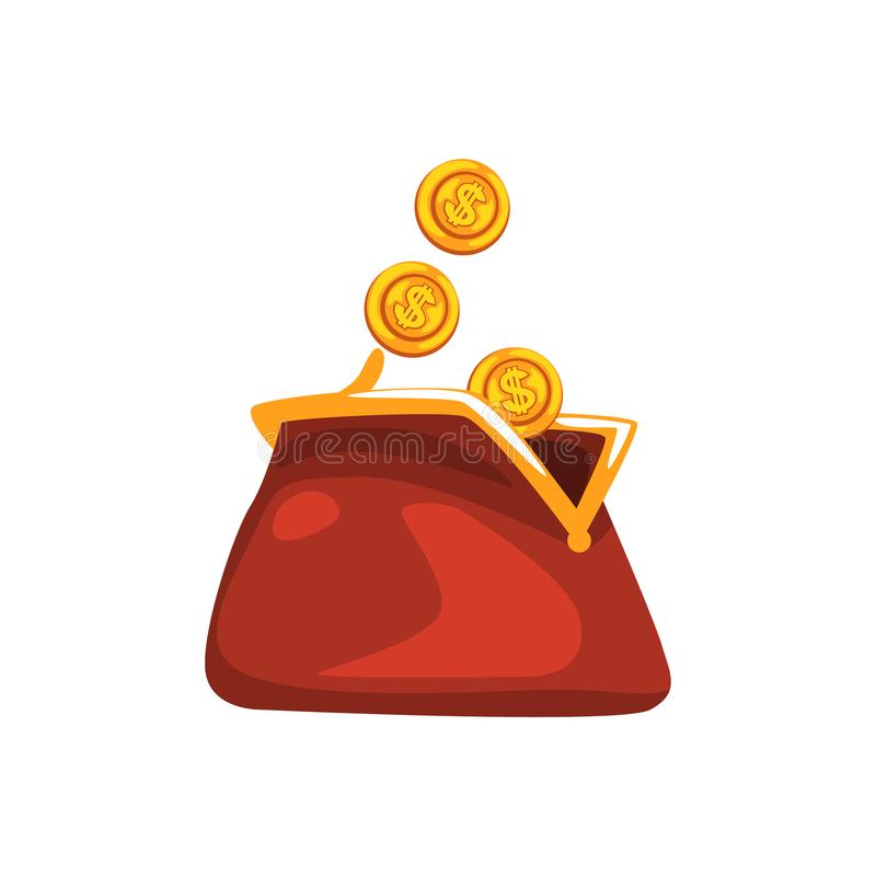 金黄美元铸造下降在白色背景隔绝的红色减速火箭的钱包传染媒介例证 库存例证