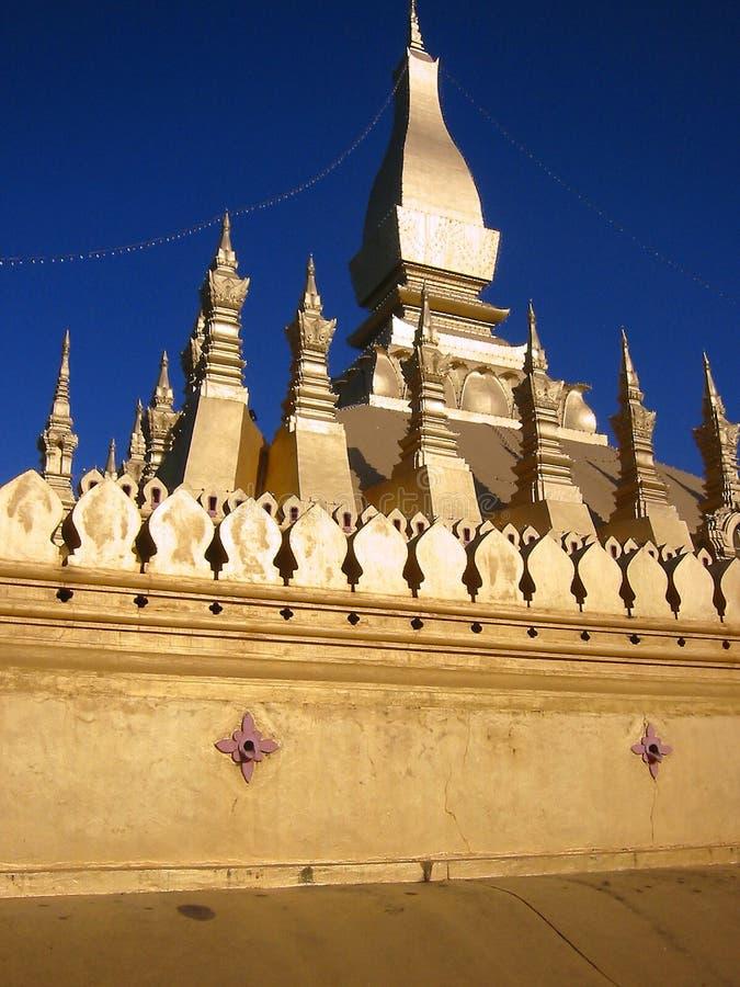金黄老挝stupa万象 库存照片