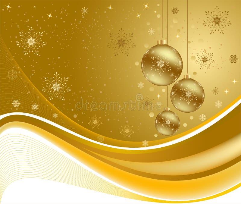 金黄背景的圣诞节 库存例证