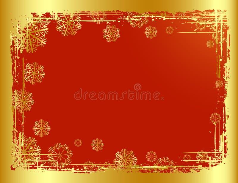 金黄背景的圣诞节 向量例证