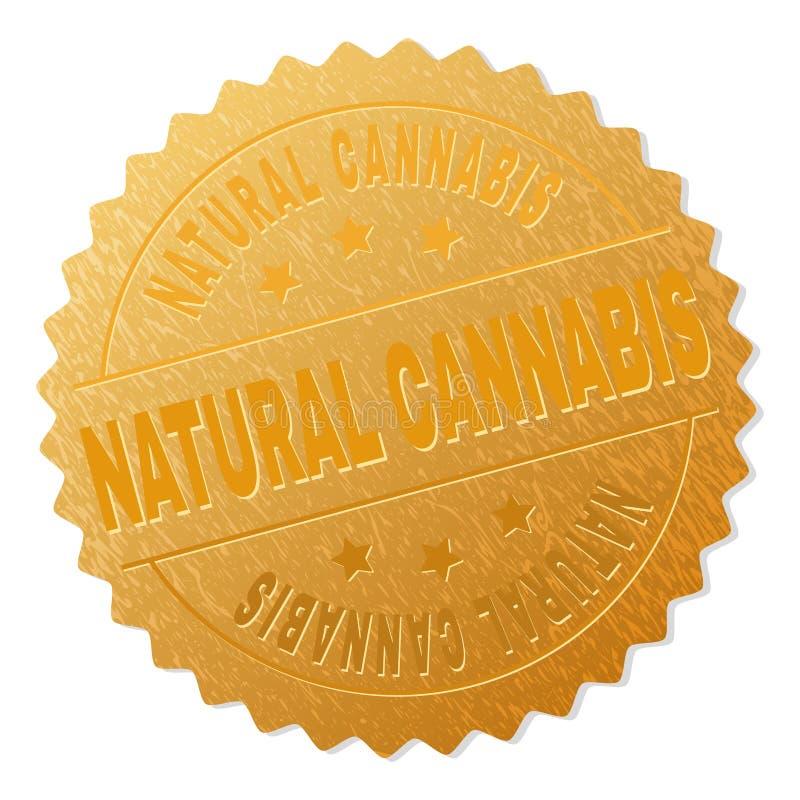 金黄自然大麻徽章邮票 向量例证