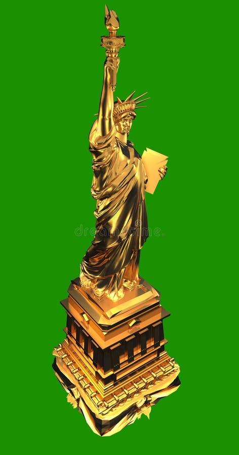 金黄自由雕象 免版税库存图片