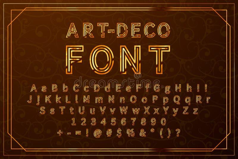 金黄艺术deco减速火箭的字体、葡萄酒与数字的拉丁标志全套和标志 库存例证