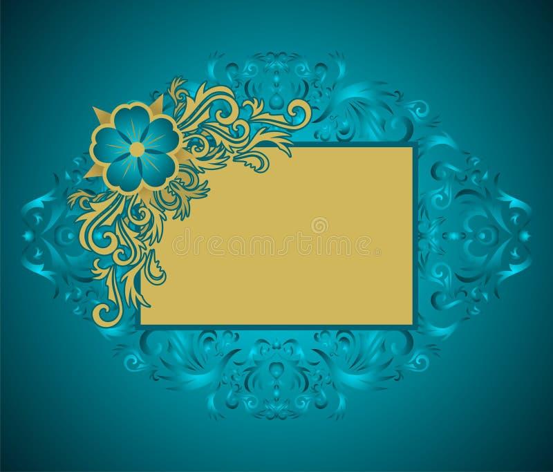 金黄花卉的框架 库存例证