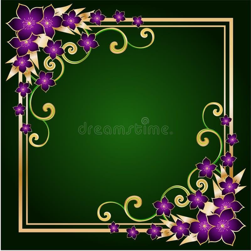 金黄花卉的框架 向量例证