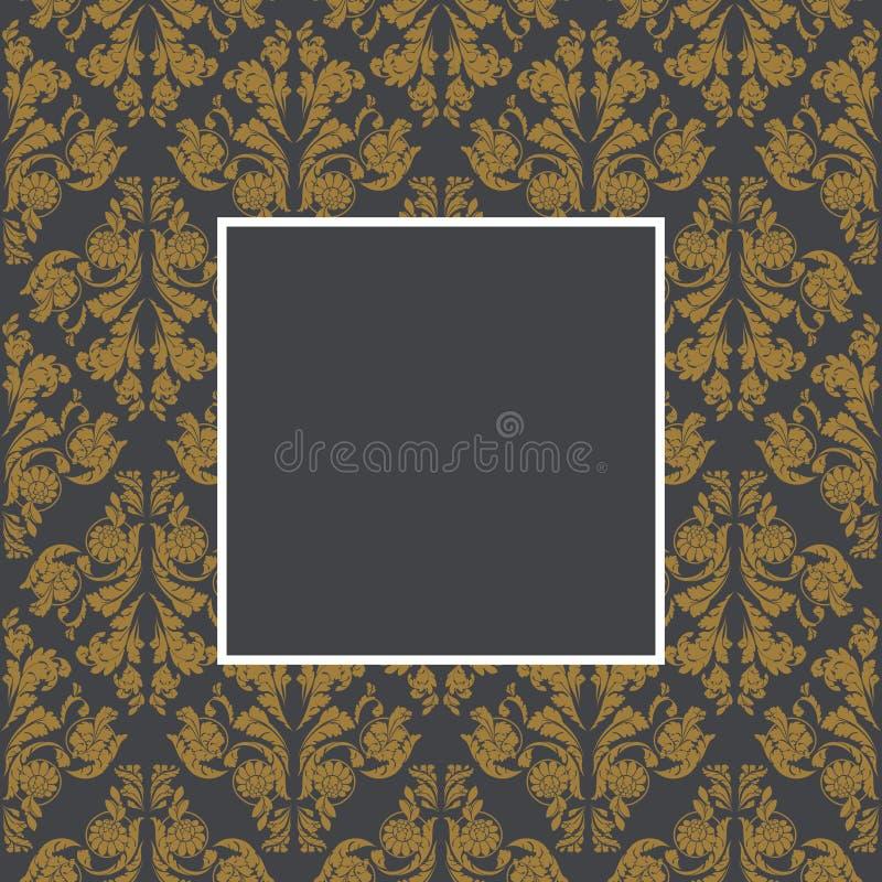 金黄花卉的框架 皇族释放例证