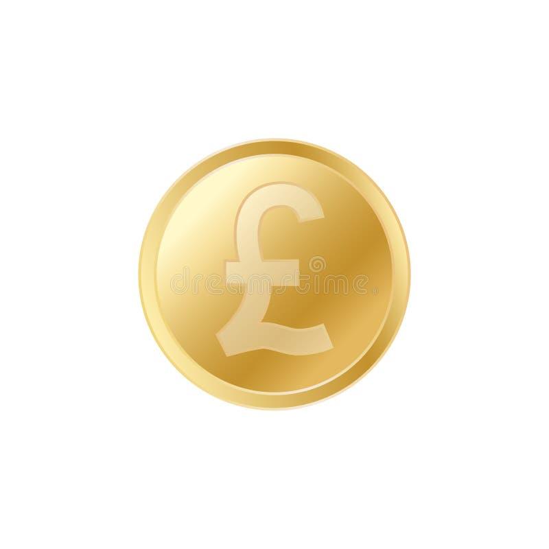 金黄英磅硬币 现实栩栩如生的金1英镑硬币 向量例证