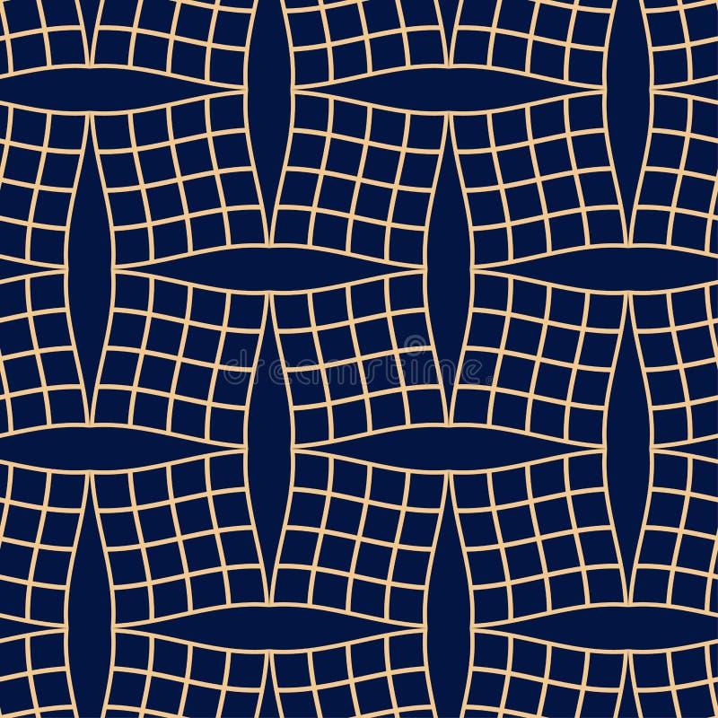 金黄蓝色几何装饰品 无缝的模式 库存例证