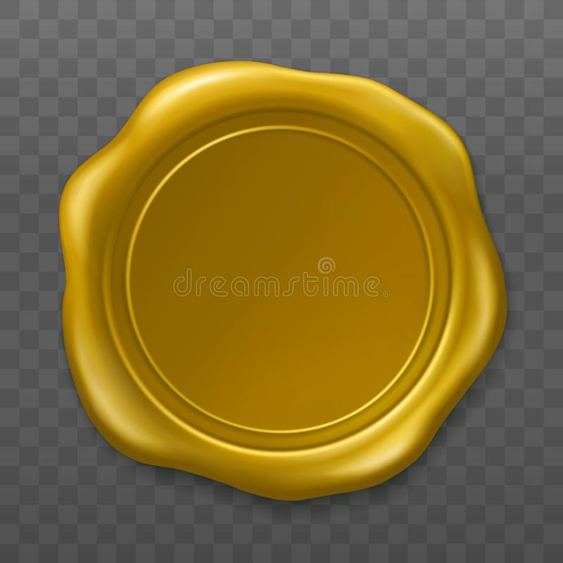 金黄蜡封印 在透明背景的封印老现实邮票标签 r 空的金黄蜡塑料 向量例证