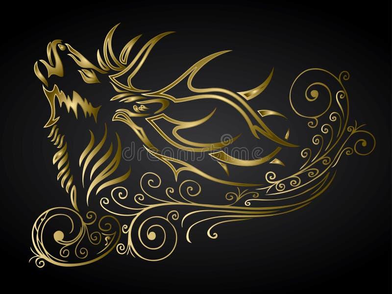 金黄被装饰的鹿 库存例证