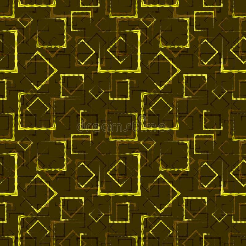 金黄被雕刻的正方形和框架的一个抽象黑暗的背景或样式 库存例证
