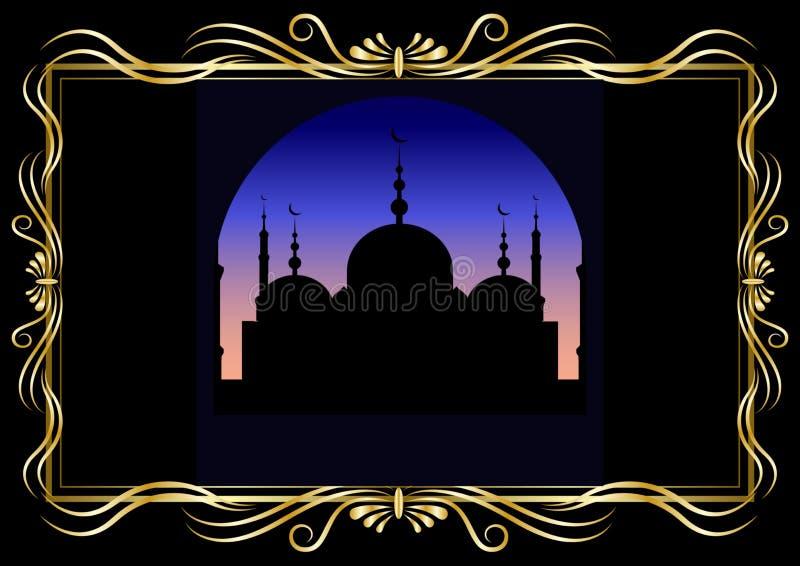 金黄装饰框架和剪影清真寺在晚上或凌晨 库存例证