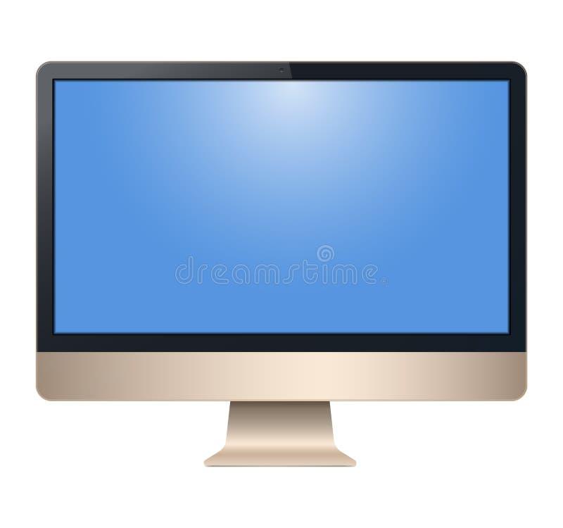 金黄计算机,有黑屏的,看法前面,隔绝在白色背景 代表您的应用 库存例证