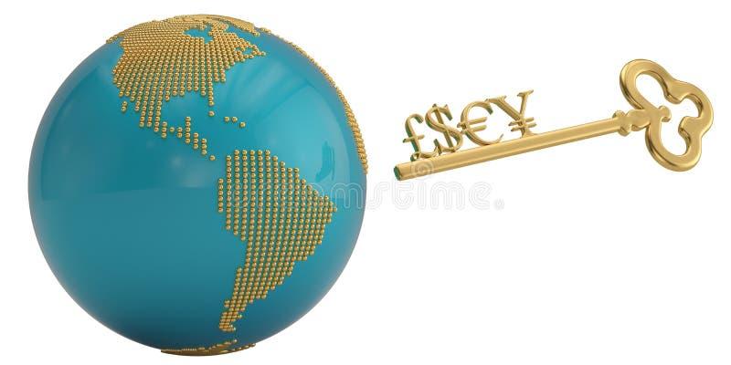 金黄货币符号在白色背景和地球隔绝的钥匙 3d例证 向量例证