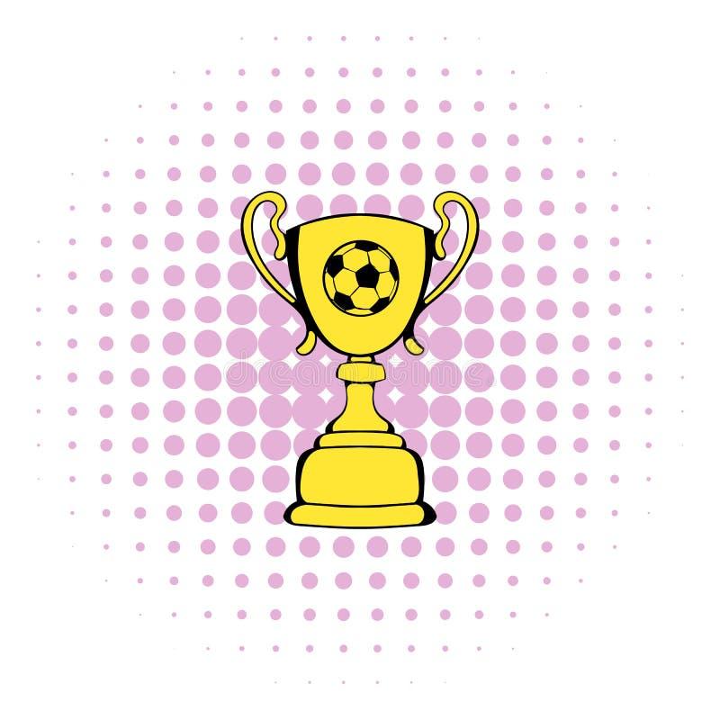 金黄足球战利品杯子象,漫画样式 皇族释放例证