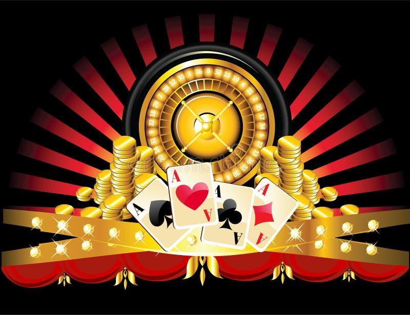 金黄轮盘赌的赌轮 库存例证