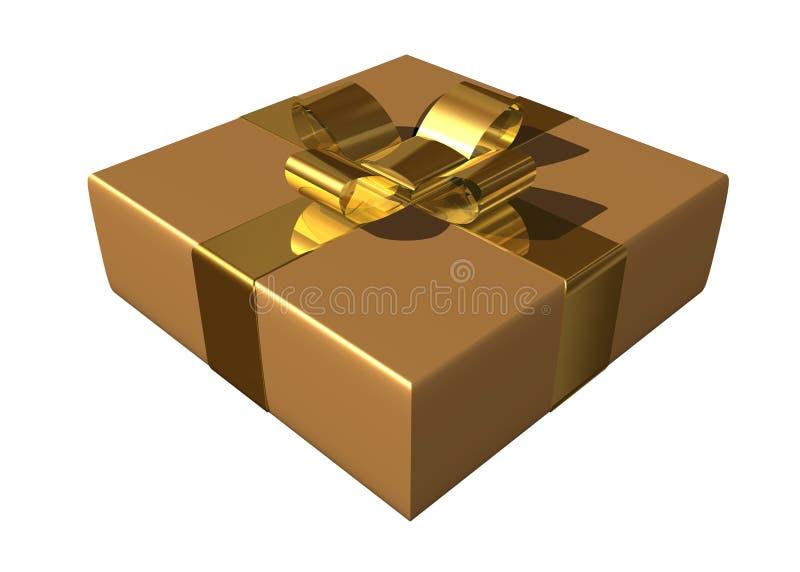 金黄配件箱的礼品 向量例证