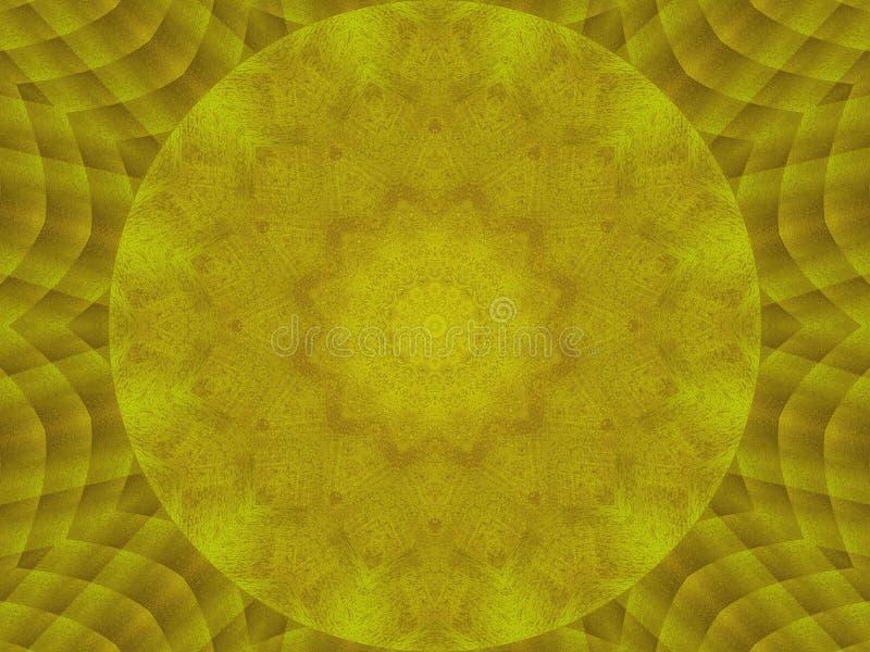 金黄金属纹理万花筒样式摘要圆的背景 抽象万花筒纹理背景 金属万花筒 皇族释放例证