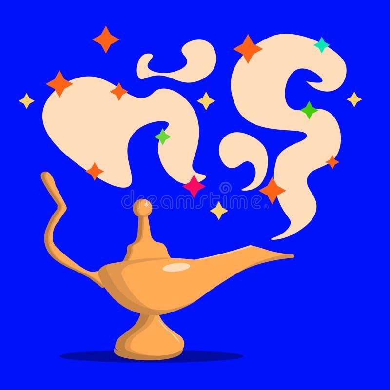 金黄闪亮指示魔术 寓言 阿拉伯童话 成功 背景棕色粗麻布铸造概念自由充分的金黄好的开放大袋空间常设文本财富 外籍动画片猫逃脱例证屋顶向量 三个愿望 东部 向量例证