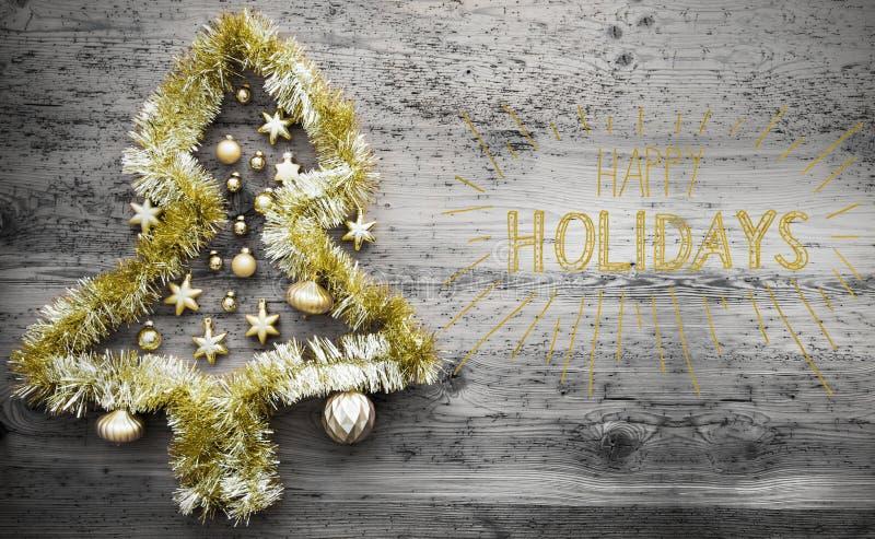金黄闪亮金属片圣诞树,书法,节日快乐 免版税库存照片