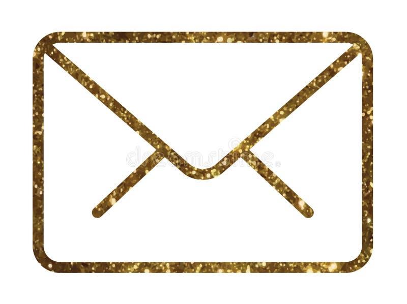 金黄闪烁传染媒介五颜六色的接口电子邮件信封线ico 皇族释放例证