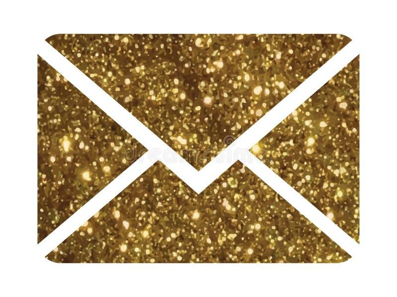 金黄闪烁传染媒介五颜六色的接口电子邮件信封线ico 向量例证