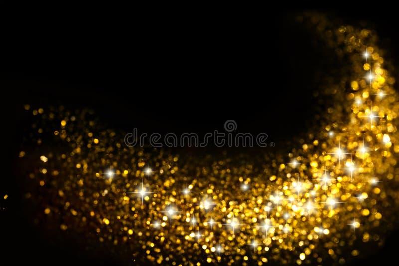 金黄闪烁线索有星形背景 向量例证