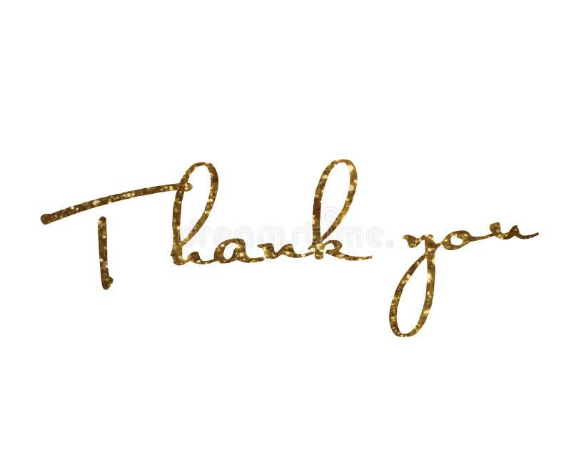 金黄闪烁被隔绝的手文字词感谢您 向量例证