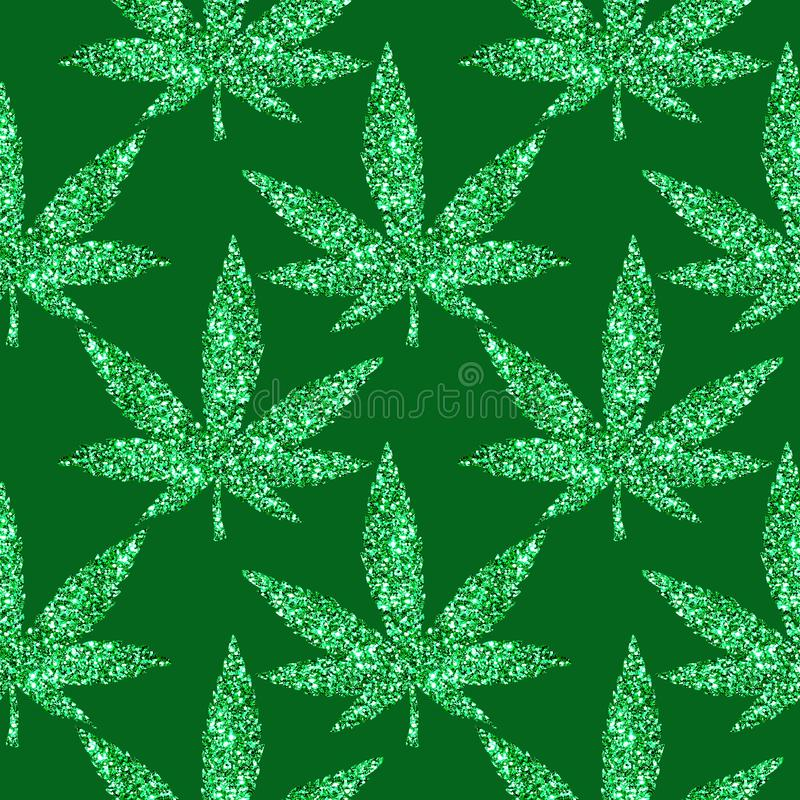 金黄闪烁闪耀的大麻离开无缝的狂欢节样式 皇族释放例证