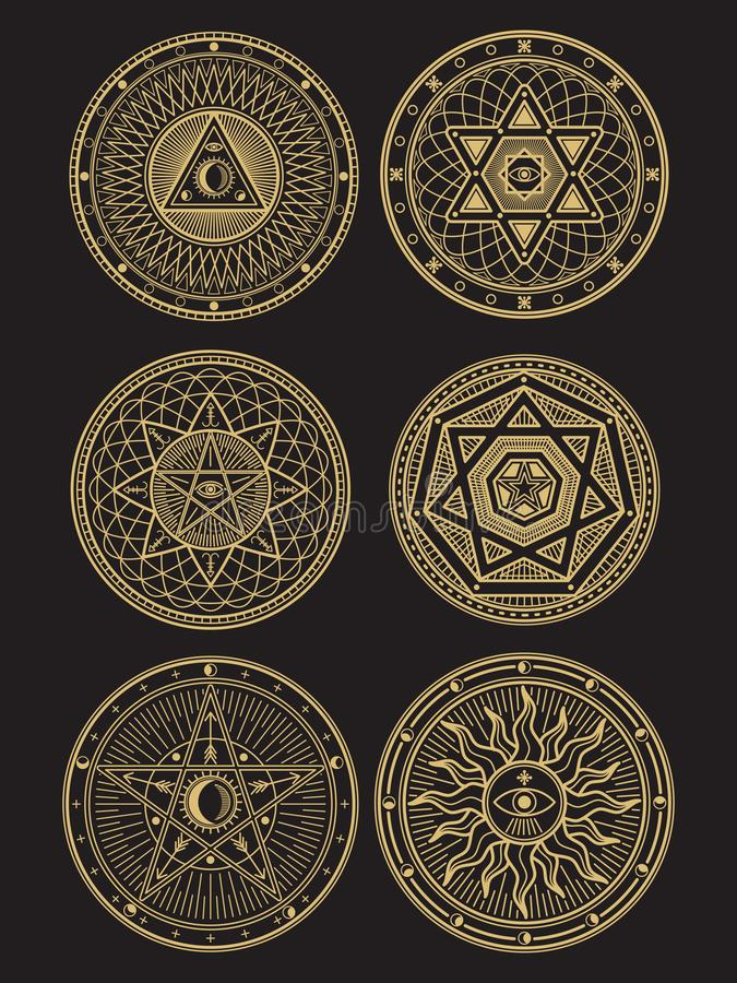 金黄隐密,神秘,精神,神秘的传染媒介标志 向量例证