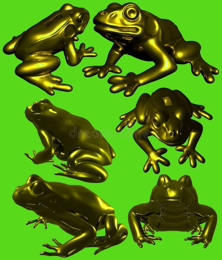 金黄青蛙雕象 库存图片