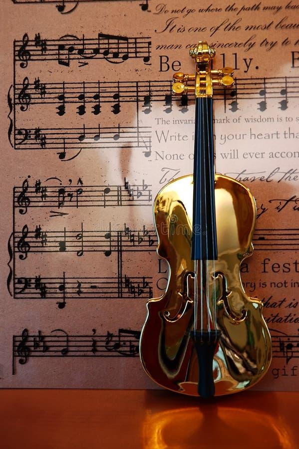 金黄音乐小提琴 免版税库存照片