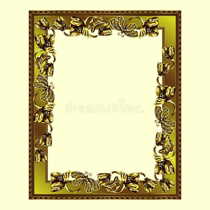 金黄颜色长方形框架与花和蝴蝶的 向量例证