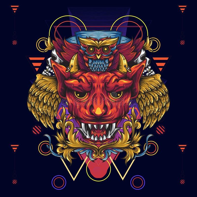 金黄飞过的恶魔和死亡猫头鹰 描述一有角的例证和fanged恶魔朝向和在它上是一头猫头鹰 ? 库存例证
