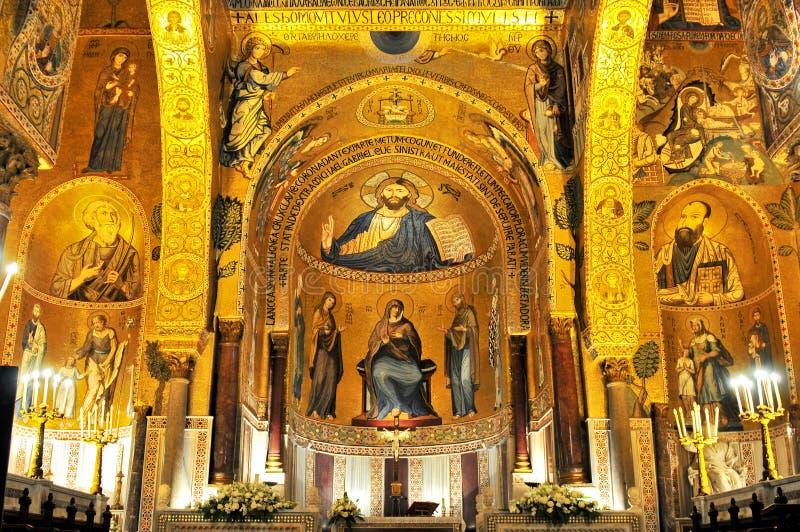金黄马赛克在La Martorana教会里在巴勒莫意大利 图库摄影