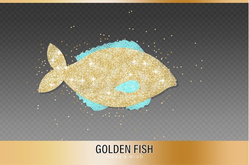金黄鱼闪烁传染媒介 发光的象模板 鱼市标志海报 向量例证