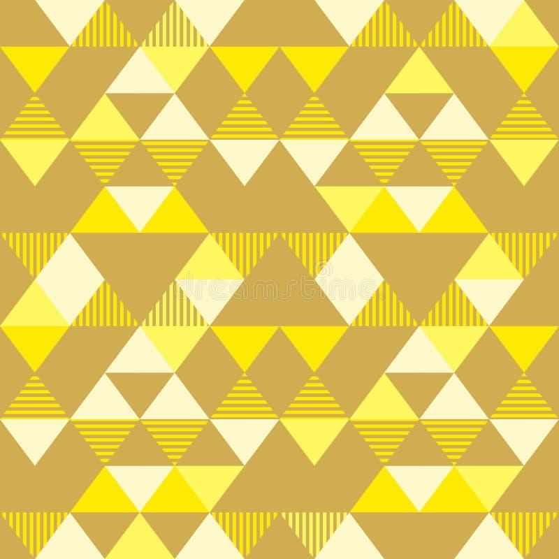金黄黄色无缝的几何三角样式背景葡萄酒孟菲斯90s样式传染媒介例证时髦摘要 向量例证