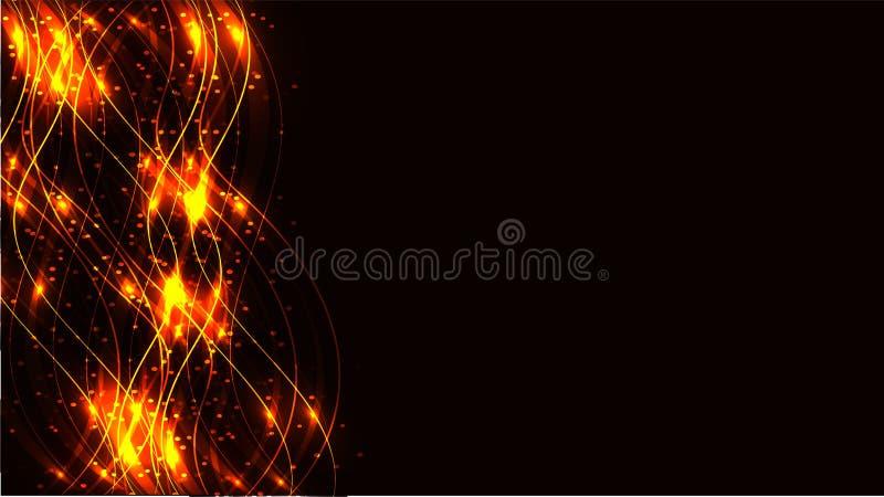 金黄黄色烟花透明抽象发光的不可思议的宇宙不可思议的能量标示,发出光线用强光,并且小点和光发光  皇族释放例证