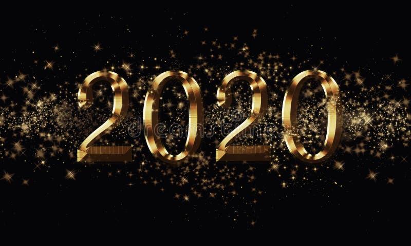 金黄黑圣诞节或新年背景,与闪烁,雪花,星,在欢乐的bokeh光的题字2020年 免版税库存图片