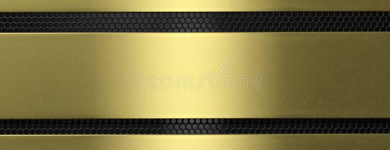 金黄黑金属片和花格,横幅 3d例证 向量例证