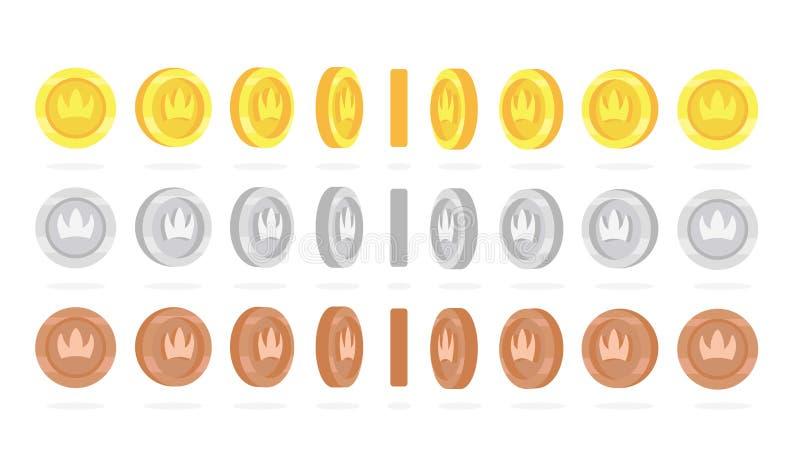 金黄,银色和古铜色硬币自转为比赛动画设置了 库存例证