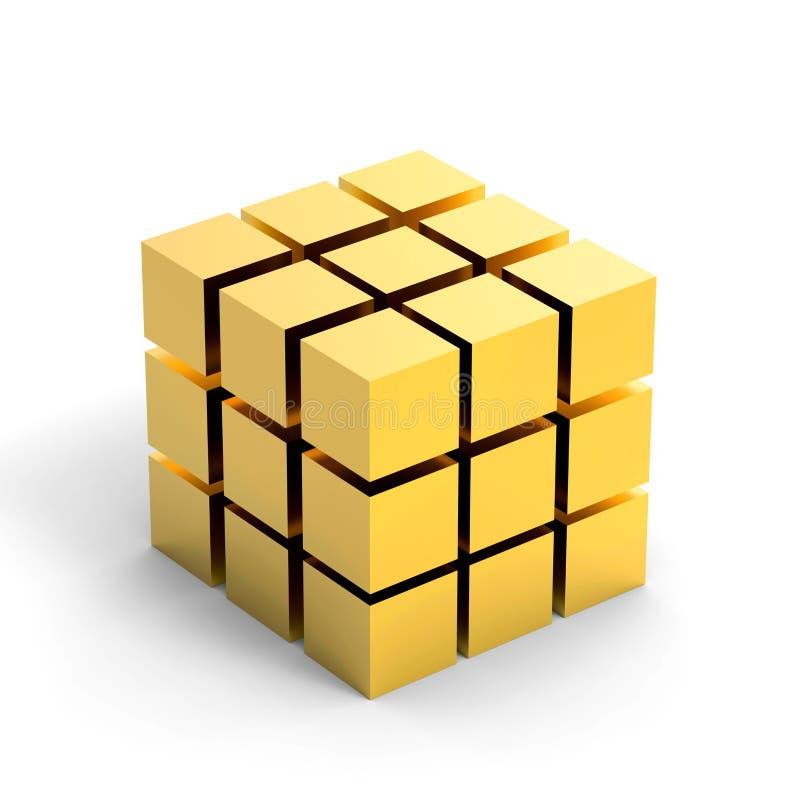 金黄3D立方体, 3D例证 向量例证