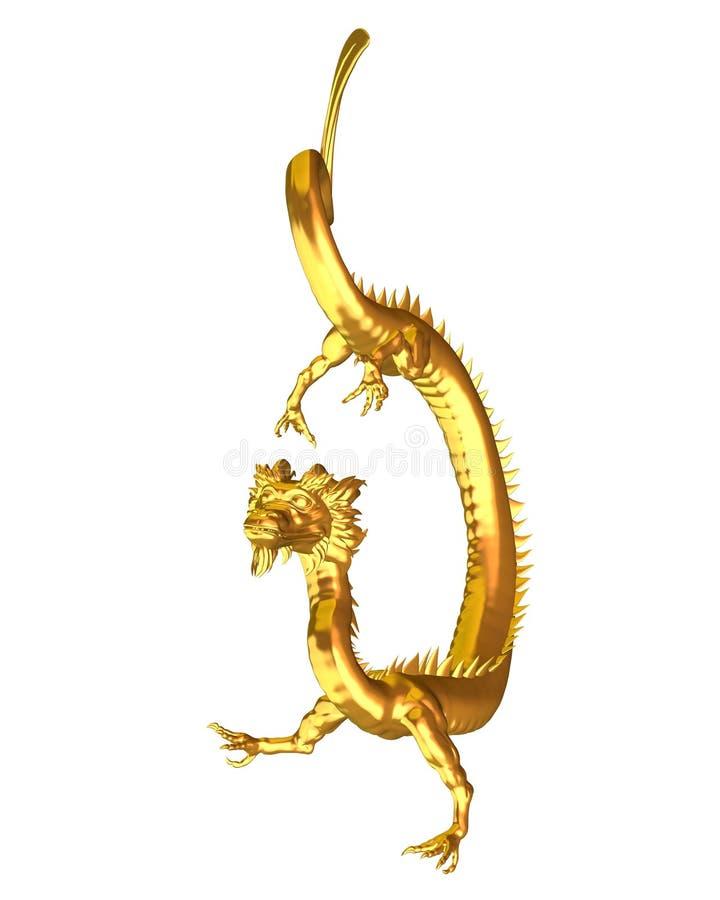金黄2中国人的龙 向量例证