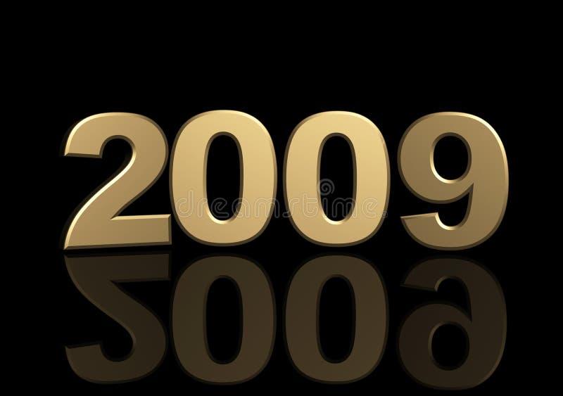 金黄2009个的图 库存例证
