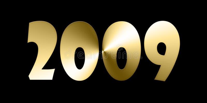 金黄2009个的数字 库存例证