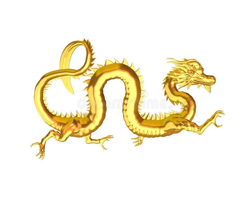 金黄3中国人的龙 向量例证