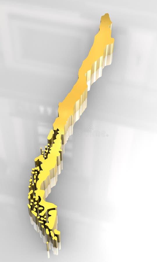 金黄3d智利的标志 皇族释放例证